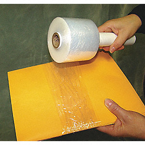 "Stretch Wrap, Hand Dispensed, 1-Side Cling, Standard, 3"" x 700 ft., Gauge: 120, Clear"