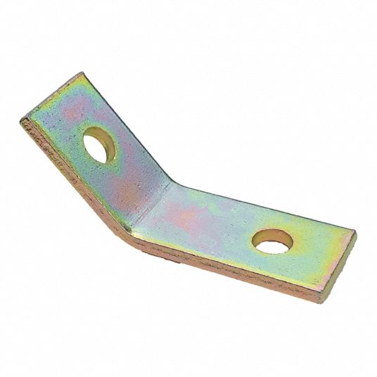 Channel Angle Bracket, 45 Degrees  Obtuse,  Steel,  Galv-Krom Finish