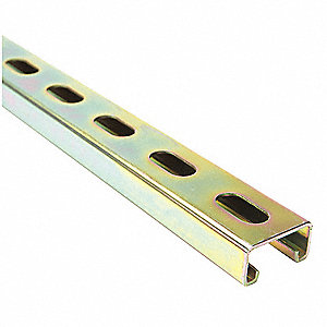 "Slotted Standard 1-5/8"" x 13/16"" Strut Channel, Zinc-Plated Steel, 14 ga., 10 ft."