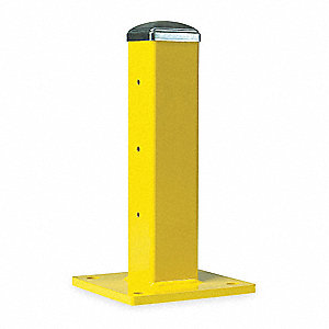 "Safety Yellow 11 ga. Steel, Post Height 18-5/8"", (W x D): 4"""