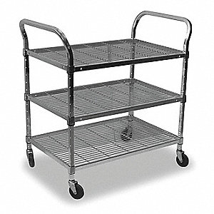 "39-1/2""L x 18""W x 42""H Chrome Steel Wire Utility Cart, 800 lb. Load Capacity"