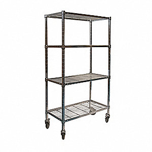 "Mobile Wire Shelving Unit, 60""W x 24""D x 70""H, 4 Shelves, Zinc Plated Finish, Silver"