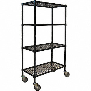 "48""L x 18""W x 70""H Powder Coated Steel Wire Cart, 1200 lb. Load Capacity"