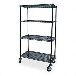 "Mobile Wire Shelving Unit, 36""W x 18""D x 69""H, 4 Shelves, Powder Coated Finish, Black"