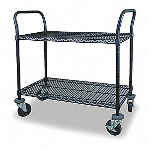 "48-3/4""L x 18""W x 39""H Powder Coated Steel Wire Utility Cart, 600 lb. Load Capacity"