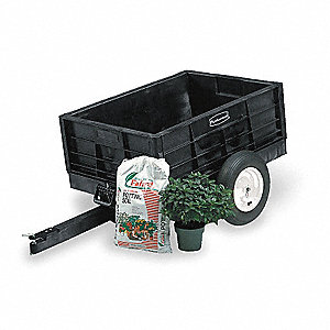 Dump Cart, Structural Foam, 3/8 cu. yd. Volume Capacity, 750 lb. Max. Capacity, Pneumatic Wheel Type