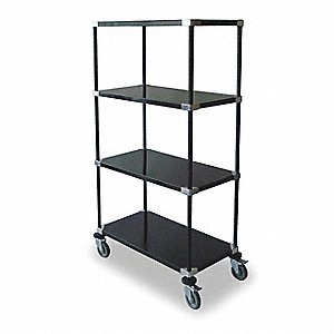 High Cart,HD,Blk,4 Solid Shelf,48x24x69