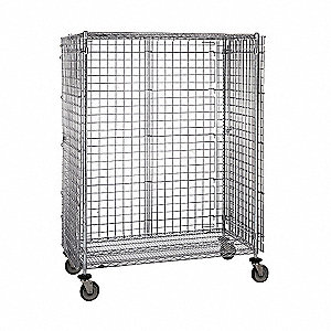 "52-3/4""L x 33-1/2""W x 52-3/4""H Silver Steel Wire Security Cart, 900 lb. Load Capacity"