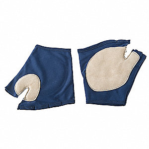 Anti-Vibration Gloves, Leather Palm Material, Blue, Gray, 1 PR
