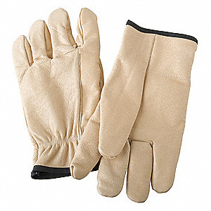 Anti-Vibration Gloves, Full Grain Leather Palm Material, Gold, 1 PR