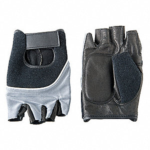 Anti-Vibration Gloves, Leather Palm Material, Black, Blue, Silver, 1 PR