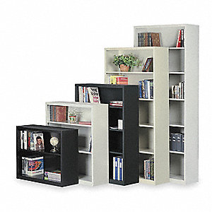Bookcase,Steel,5 Shelf,Putty,72Hx34 1/2W