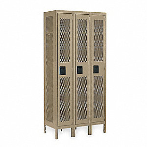 "Tan Wardrobe Locker, (3) Wide, (1) Tier Openings: 3, 36"" W X 18"" D X 78"" H"