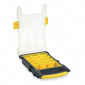 "Compartment Box, Black/Yellow, 2-7/16""H x 8-3/8""L x 13-3/8""W, 1EA"