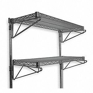 "24"" x 14"" x 34"" Steel Wall Mounted Wire Shelving, Chrome"