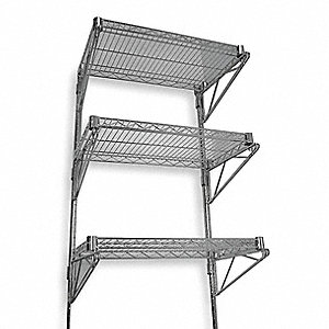 "Ventilated Steel Wire Wall Shelf, 36""W x 14""D x 54""H, No. of Shelves: 3"