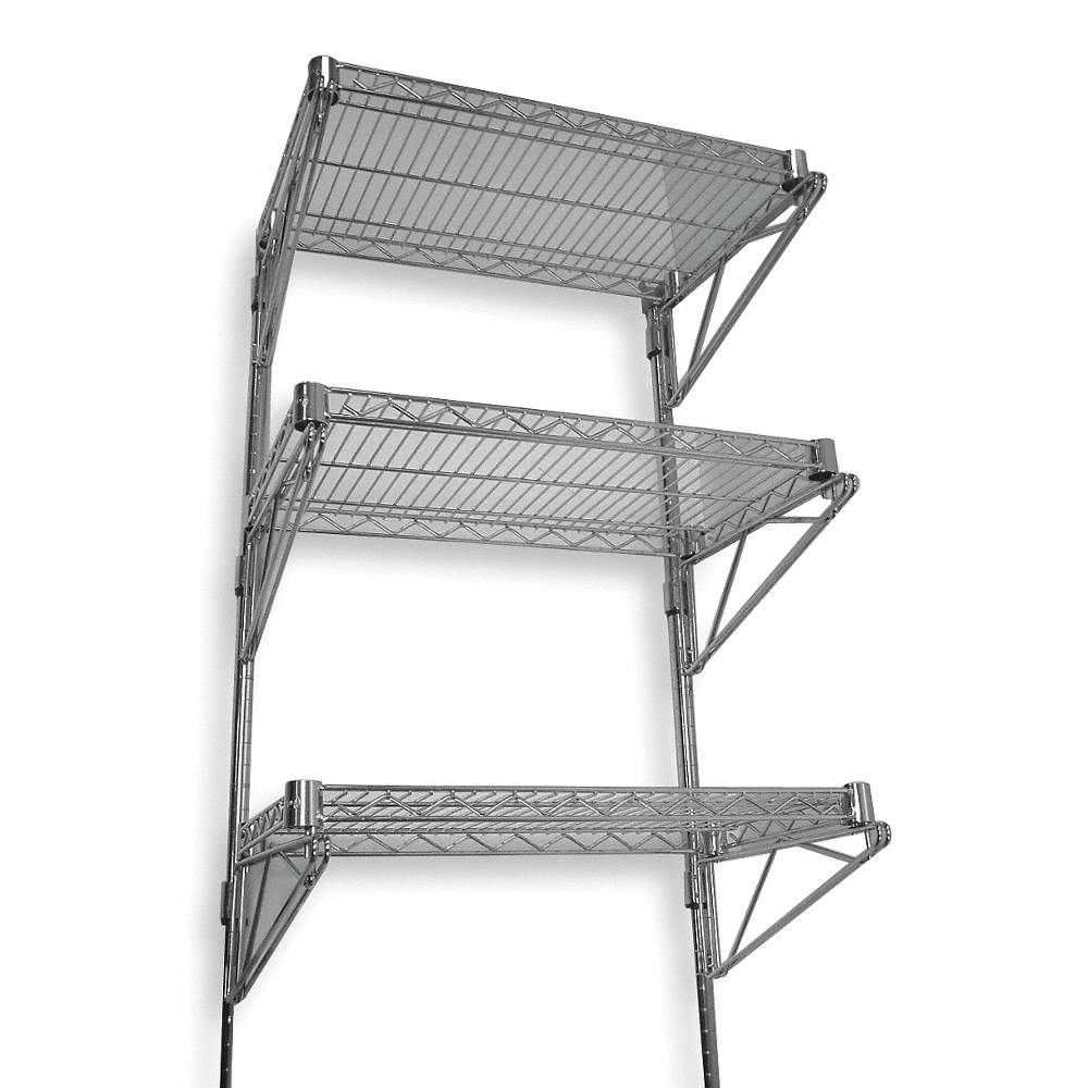 Grainger Approved Ventilated Steel Wire Wall Shelf 60w X 18d X 54