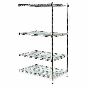 "Add-On Wire Shelving Unit, 36""W x 24""D x 63""H, 4 Shelves, Zinc Plated Finish, Silver"