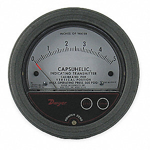 Pressure Gage/Transmitter,0 to 5 In WC