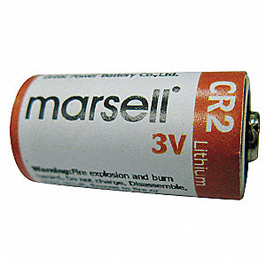 Lithium Battery, Voltage 3, Battery Size CR2, 2 PK