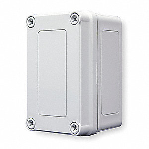 "5""H x 3""W x 3""D Non-Metallic Enclosure, Light Gray, Knockouts: No, Screws Closure Method"