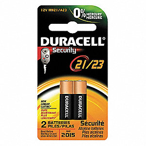 Alkaline Battery, Voltage 12, Battery Size 21, 2 PK