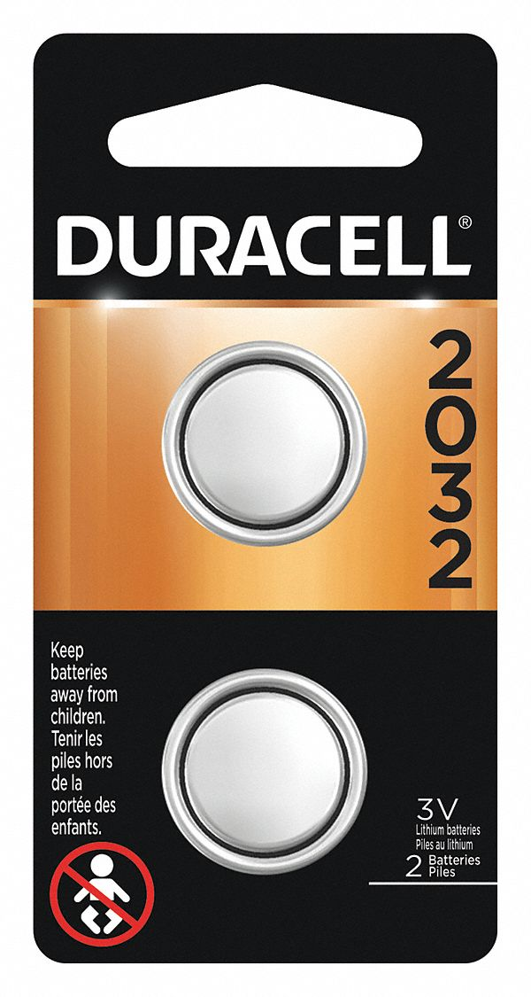 2032,  Coin Cell Battery,  ANSI,  Lithium,  3V DC,  Diameter 0.782 in,  Depth 0.12 in,  PK 2