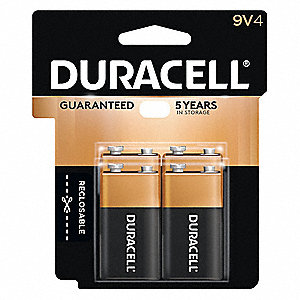 9V Standard Battery, CopperTop, Alkaline, PK4