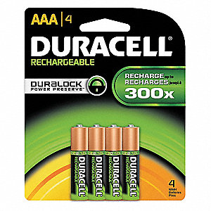 AAA Nickel-Metal Hydride Rechargeable Battery, 1000mAh, Voltage 1.2, 4 PK