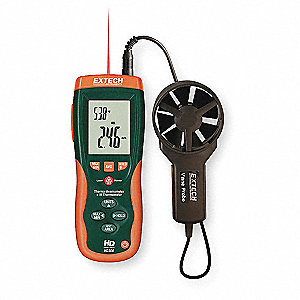 Anemometer with IR Temp,80 to 5900 fpm