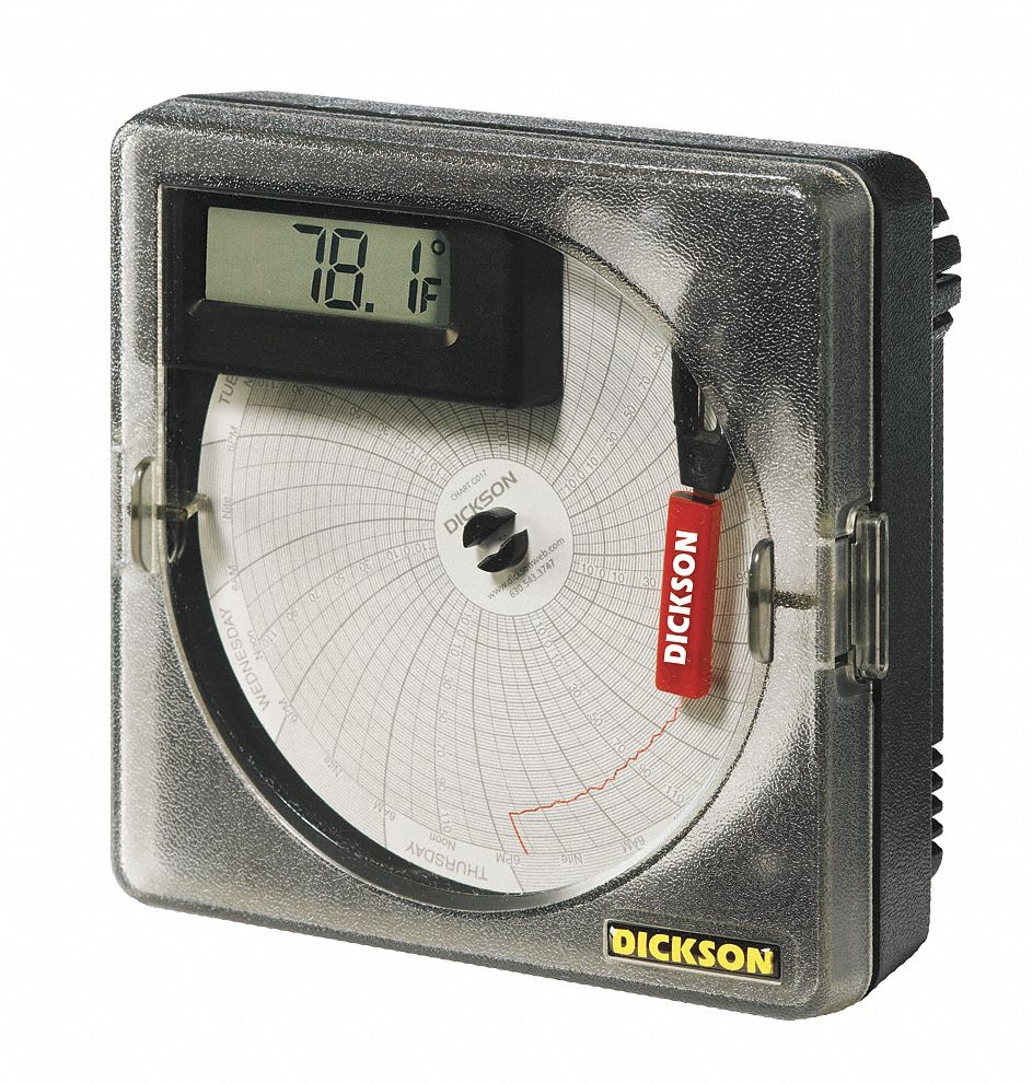 Circular Chart Recorder,  Temperature,  1 or 7,  -22° to 122°F, -30° to 50°C Temp. Range,  Yes