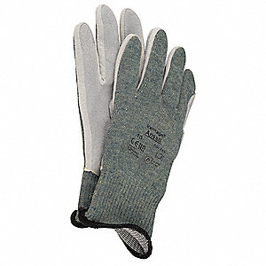 Leather Cut Resistant Gloves, ANSI/ISEA Cut Level 4, Kevlar® Lining, Green, 9, PR 1