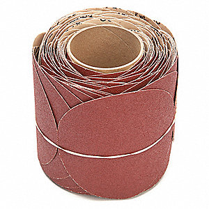 "6"" PSA Sanding Disc Roll, Ceramic, 80 Grit, Medium, No Hole, Coated, 763U, Package Quantity 400"