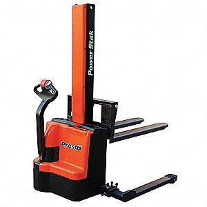 "Adjustable Base Stacker, 2200 lb., Fork Width 6"", Fork Length 42"", Lifting Height Max. 62"""