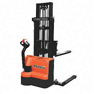 "Adjustable Base Stacker, 2200 lb., Fork Width 6"", Fork Length 42"", Lifting Height Max. 150"""