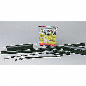 Shrink Tubing,0.187in ID,Black,6in,PK100
