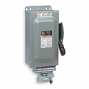Safety Switch, 12 NEMA Enclosure Type, 60 Amps AC, 50 HP @ 600V HP