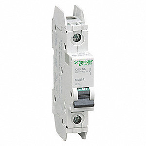 Miniature Circuit Breaker, 5 Amps, C Curve Type, Number of Poles: 1