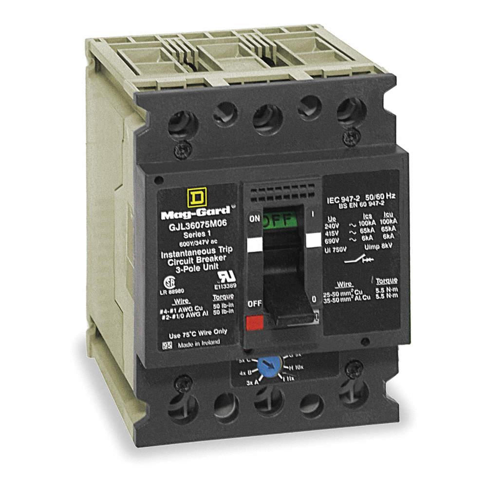 SQUARE D Circuit Breaker, 75 Amps, Number of Poles: 3, 347/600VAC AC ...