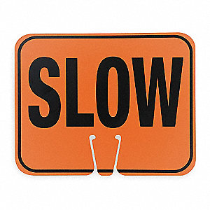 Traffic Cone Sign,Blk/Orng,Slow Traffic