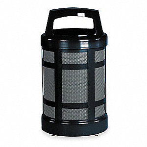 Trash Can,38 gal.,Black,Galvanized Steel