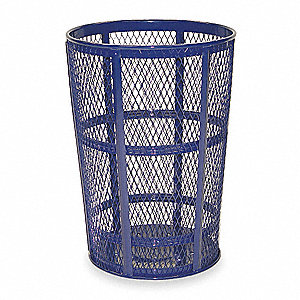 "Street Basket 45 gal. Round Open Top Trash Can, 33""H, Blue"