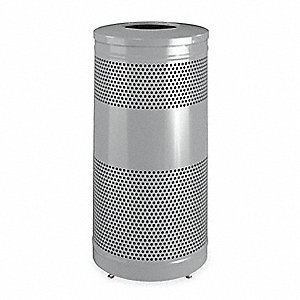 "Classics 25 gal. Round Open Top Trash Can, 35-1/2""H, Silver"