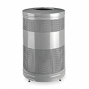 "Classics 51 gal. Round Open Top Trash Can, 35-1/2""H, Silver"