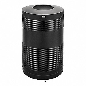 Trash Can,51 gal.,Black,Steel