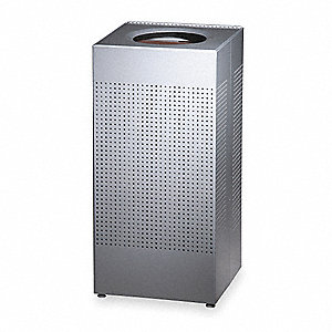 24 gal. Square Silver Fire-Safe Trash Can