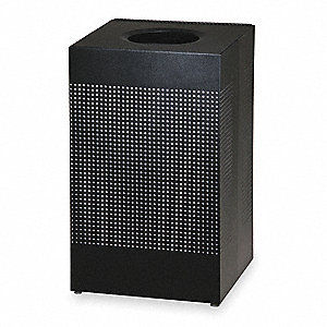"SILHOUETTE 20 gal. Square Open Top Decorative Fire-Resistant Trash Can, 30""H, Black"
