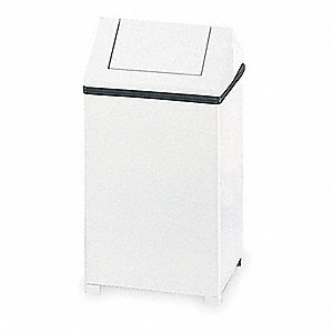 "Wastemaster 14 gal. Square Dome Top Utility Trash Can, 26""H, White"