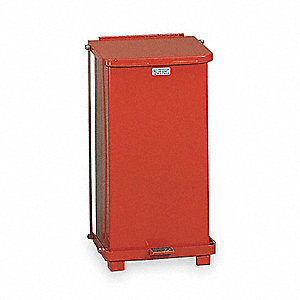 "Defender 12 gal. Square Flat Top Decorative Wastebasket, 23""H, Red"