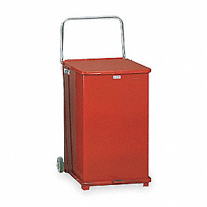 "Defender 40 gal. Square Flat Top Decorative Trash Can, 30""H, Red"